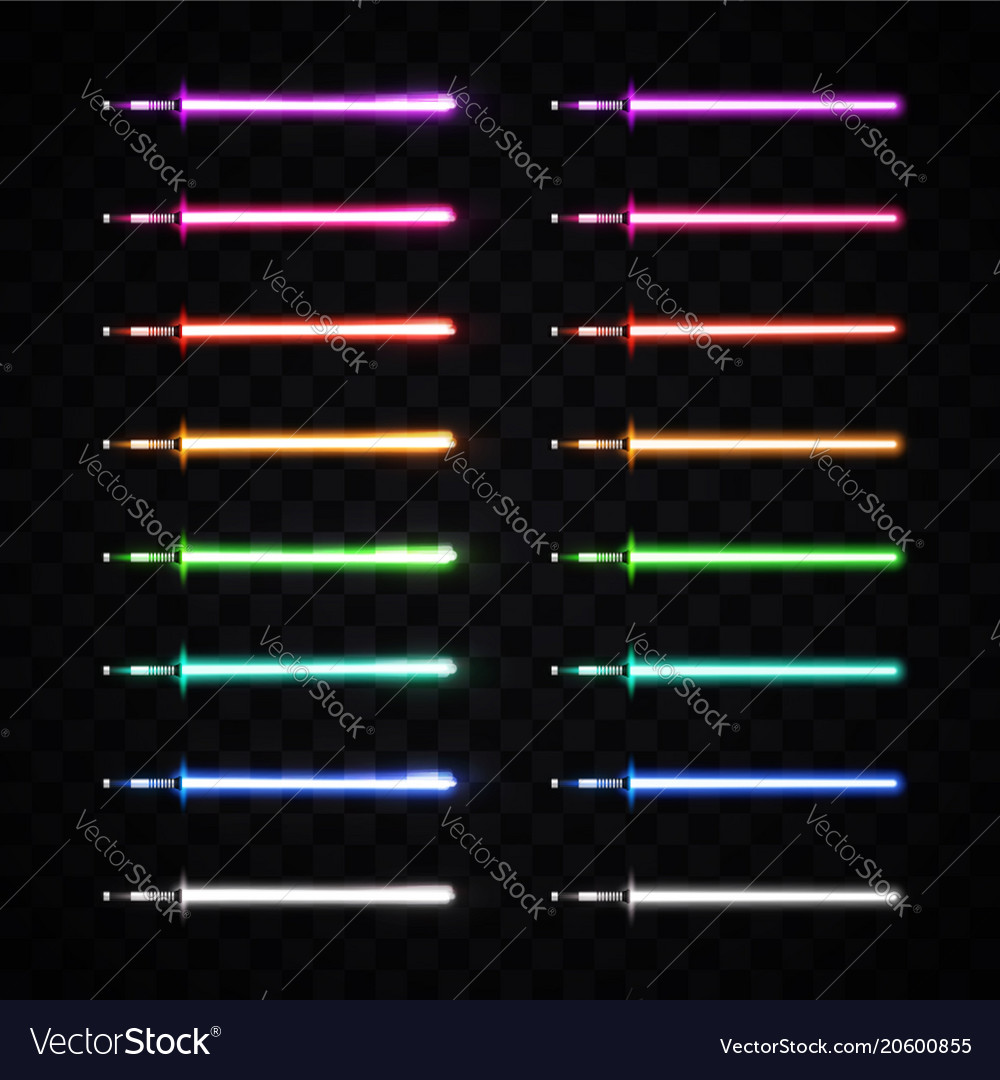 Neon light swords set glowing sabers collection vector image