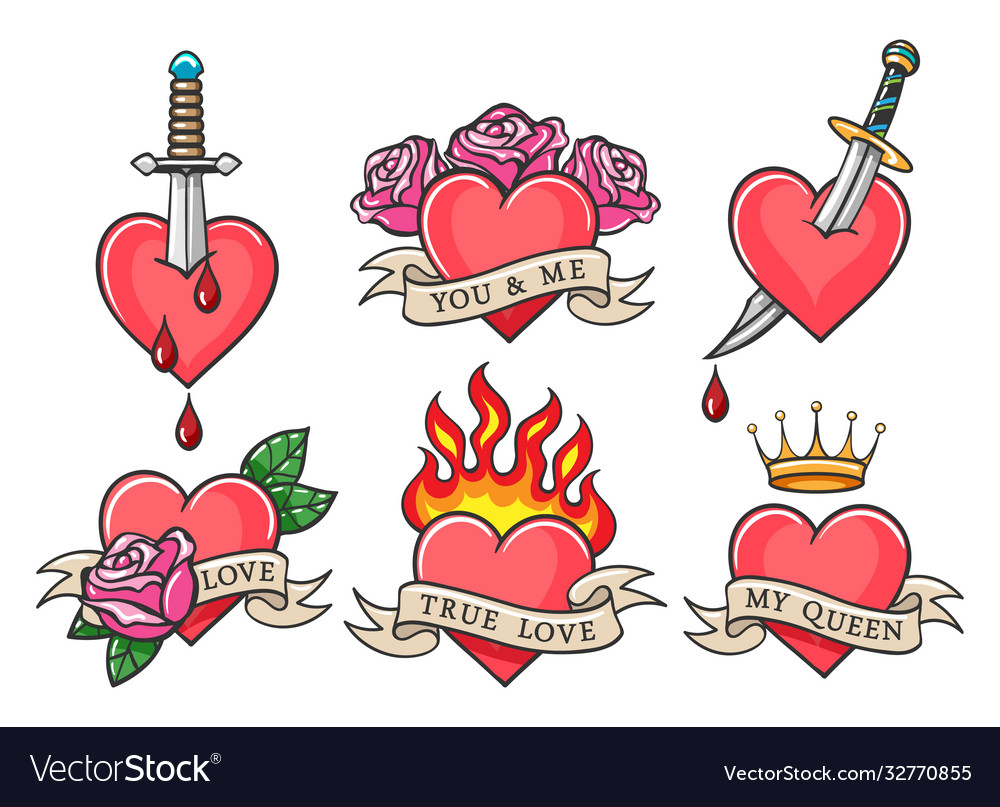 Old school heart tattoo set