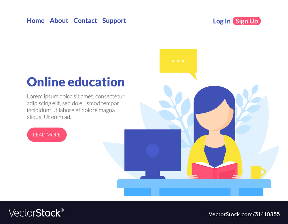 Online education landing page template distance