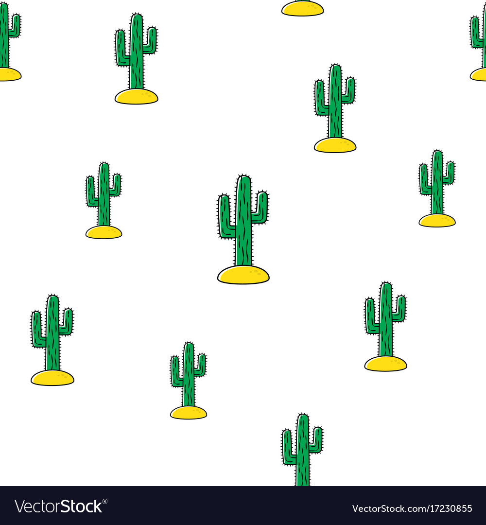 Seamless pattern with tropical cactus