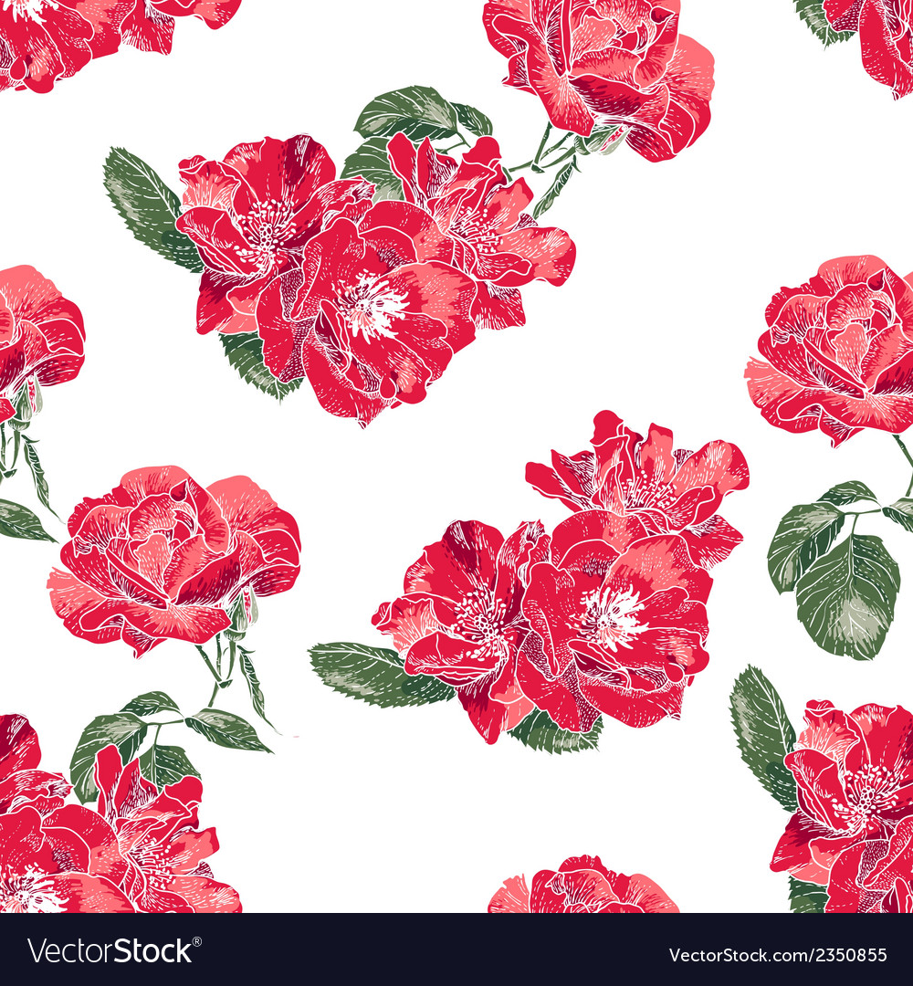 Seamless pattern with vintage roses