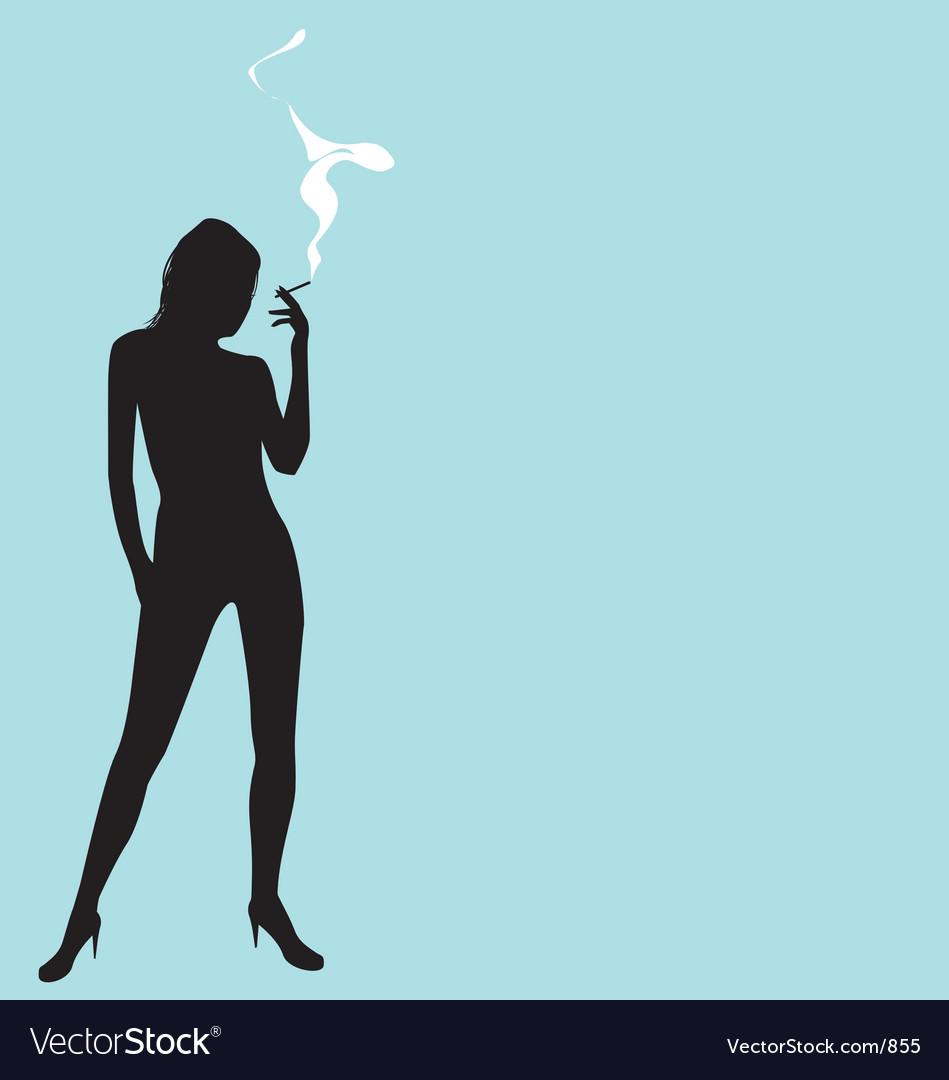 Smoking silhouette vector image