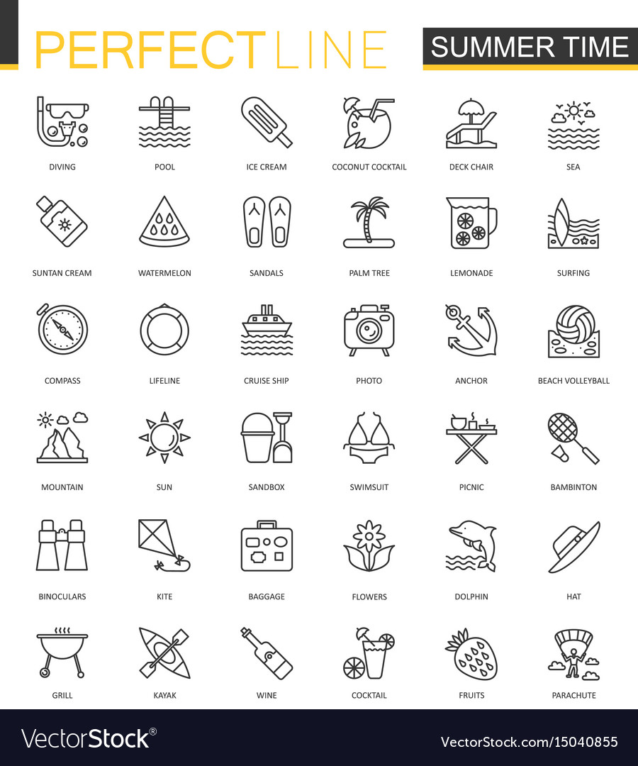 Summer time thin line web icons set vacation