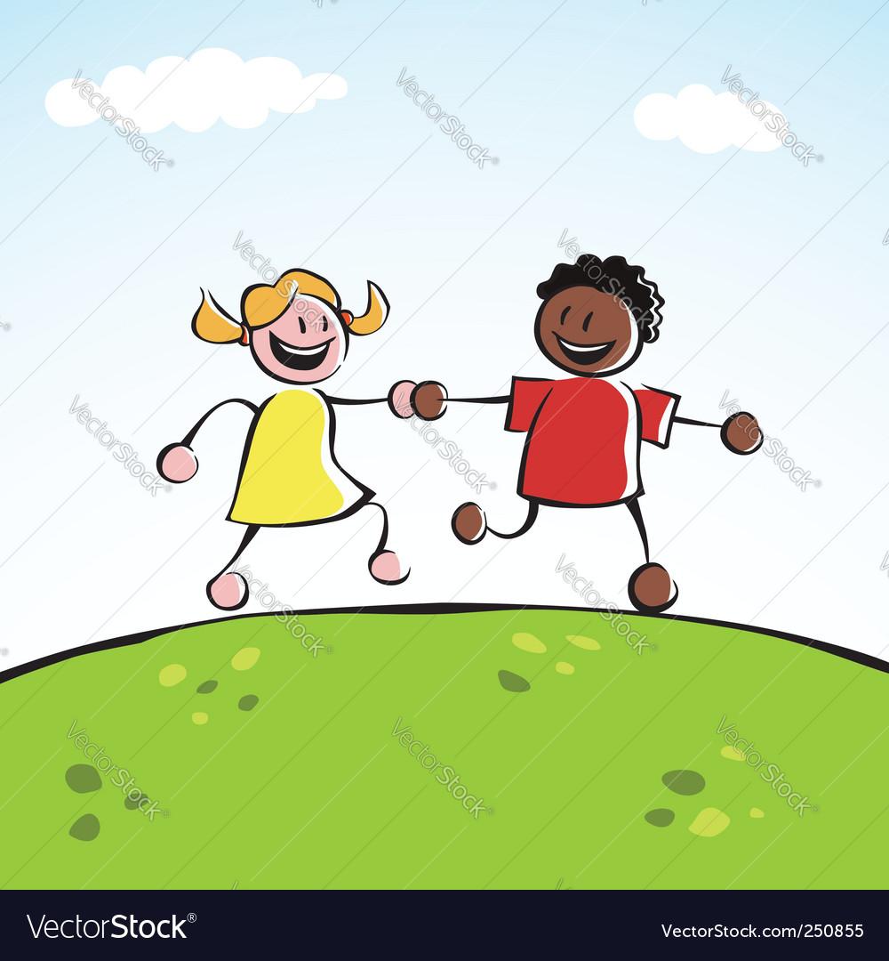 Children Holding Hands Vector. Two Kids Holding Hands Vector