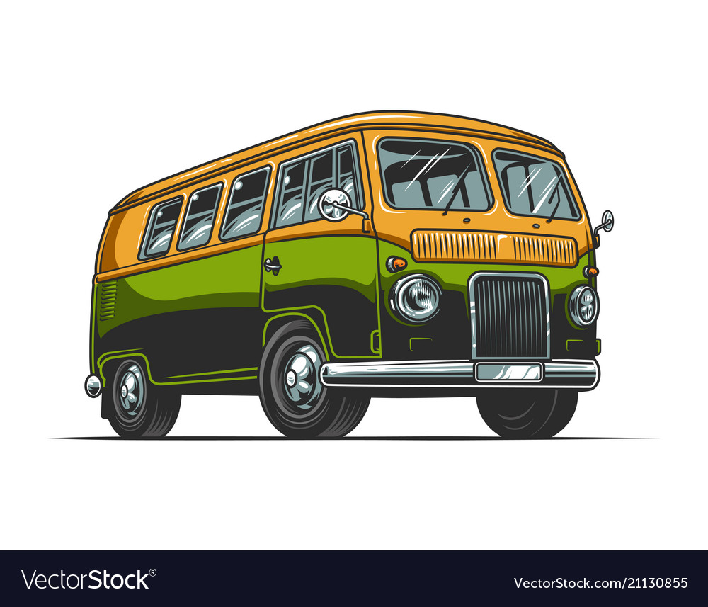 vintage colorful hippie bus template royalty free vector
