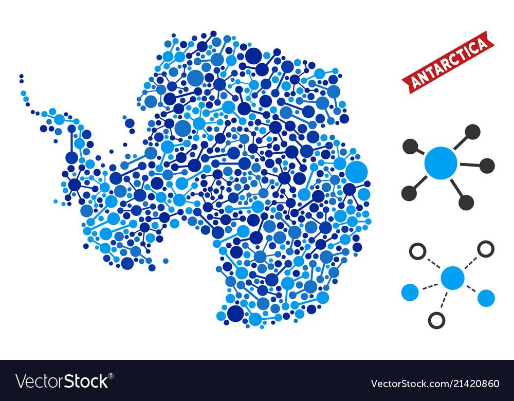 Antarctica map connections mosaic