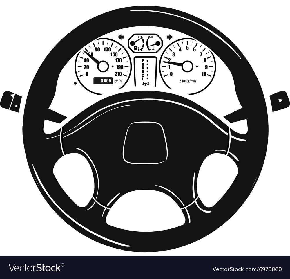 Car steering wheel logo design template Royalty Free Vector