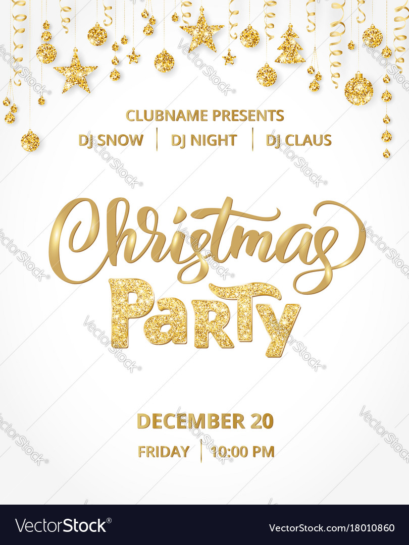 Christmas party poster template gold on white