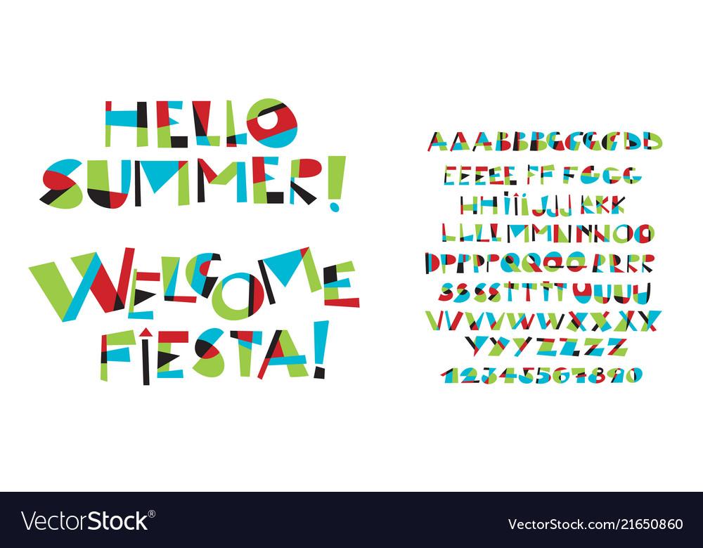 Colorful childish font letter set