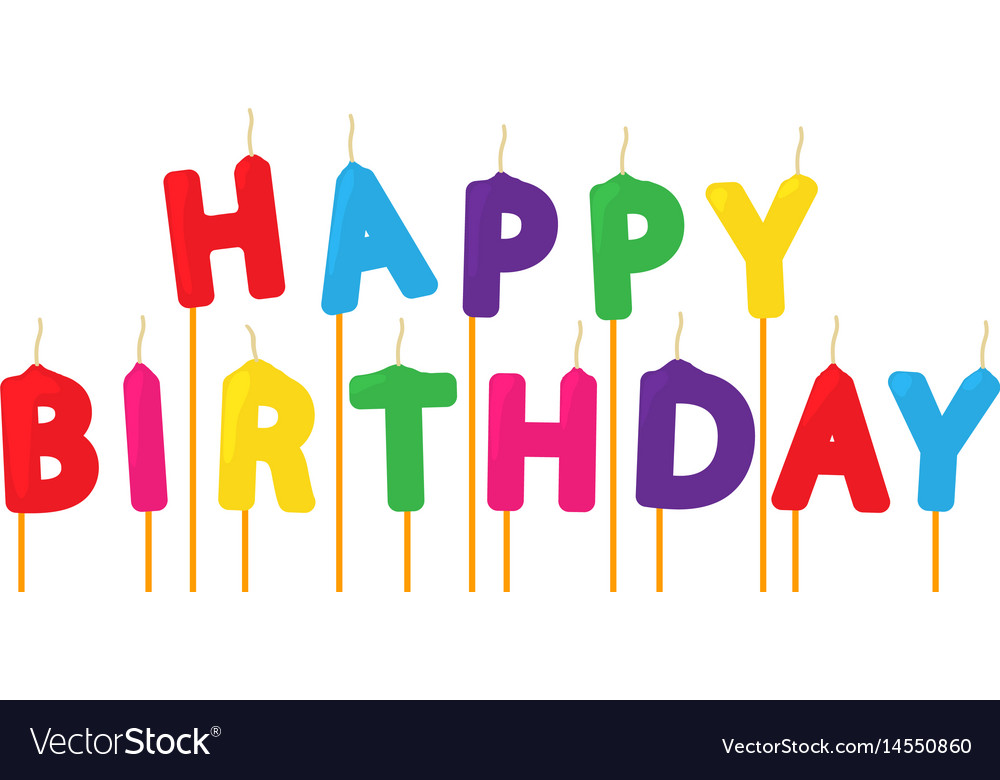 Colorful Happy Birthday Candles Icon Cartoon Style Vector Image