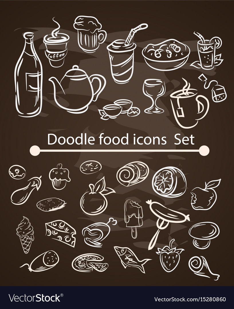 Food menu elements on chalk board set