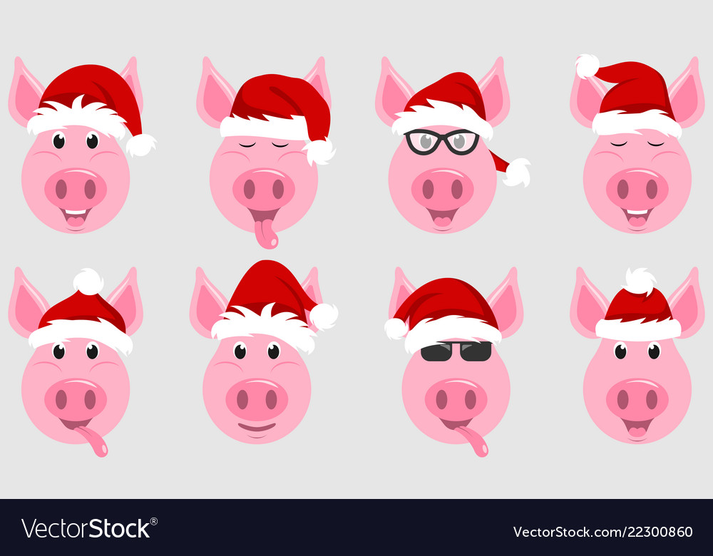 Funny pigs in santa hats chinese symbol new year