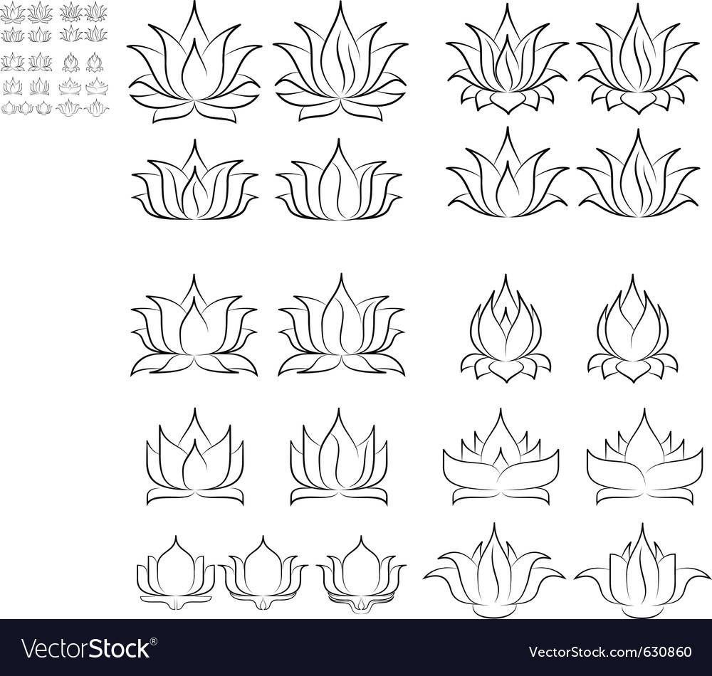 Lotus set 2 vector image
