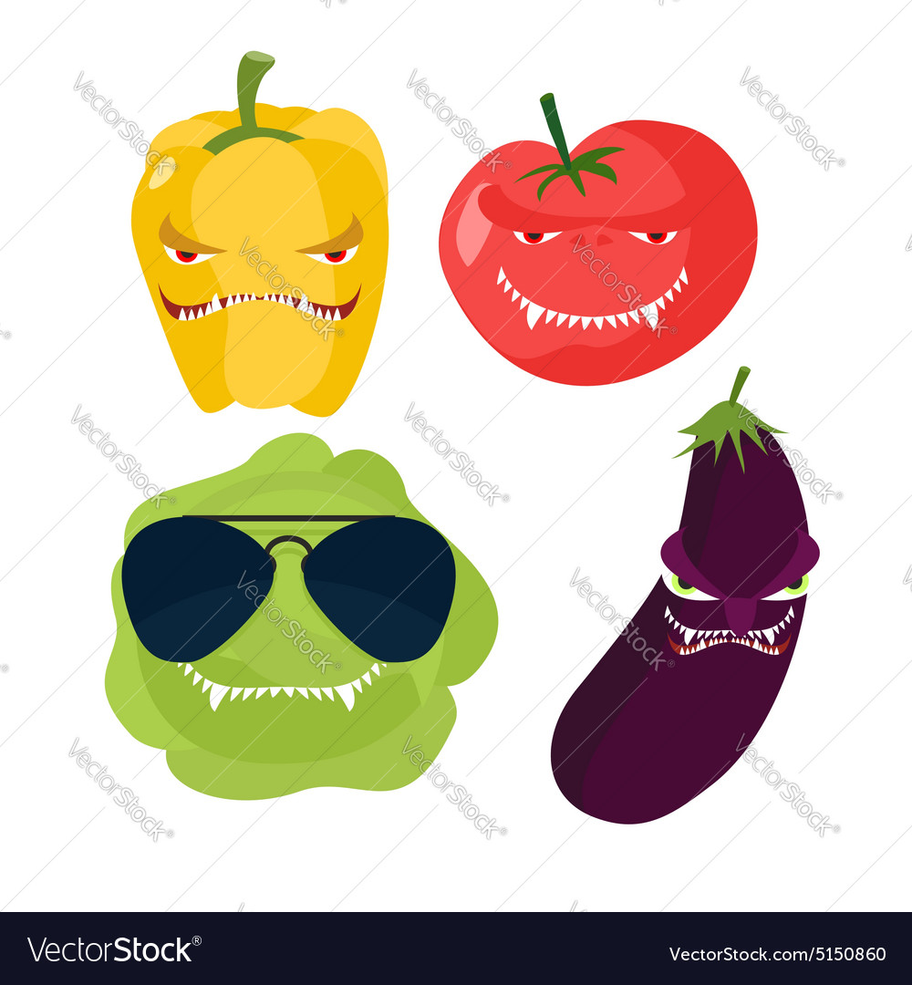 Scary vegetables Cabbage in glasses horrible