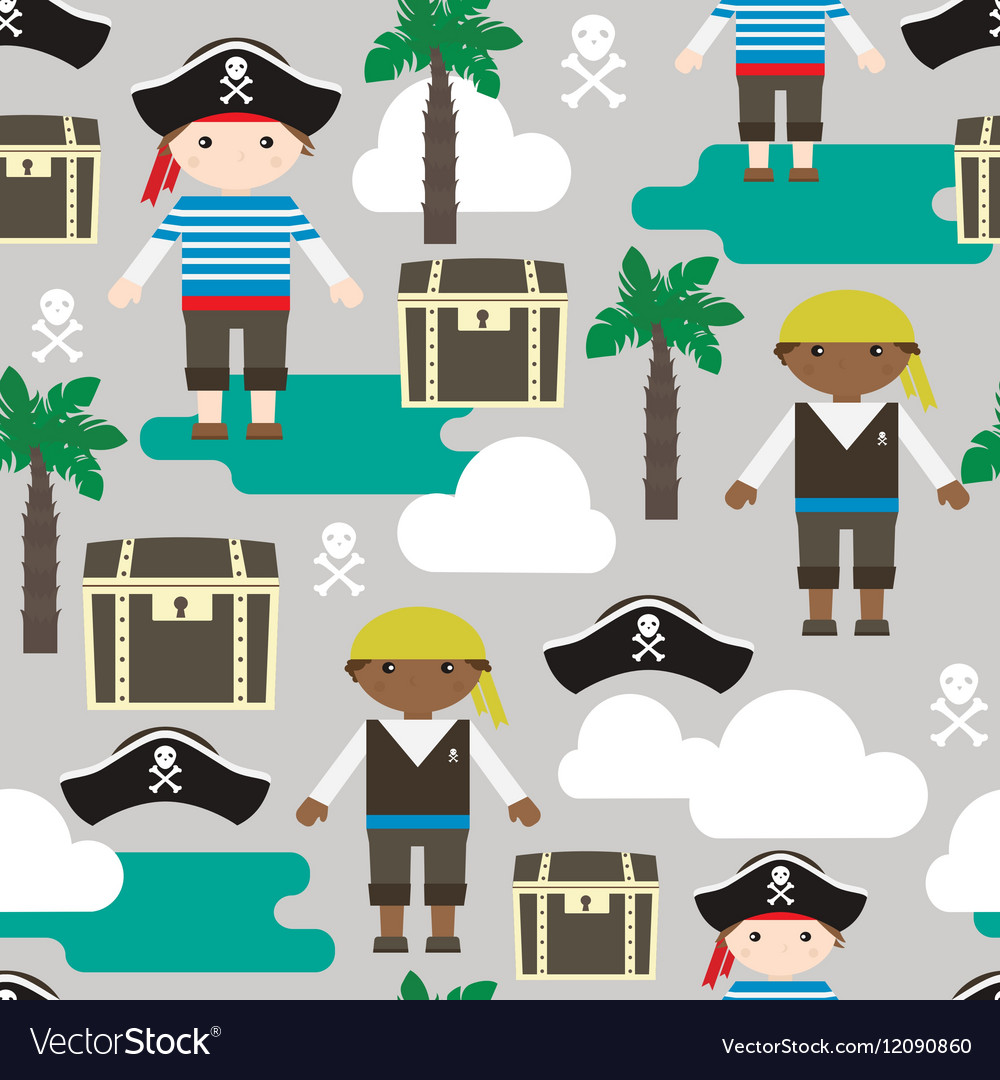 Seamless pattern with pirates Kids fabric texture