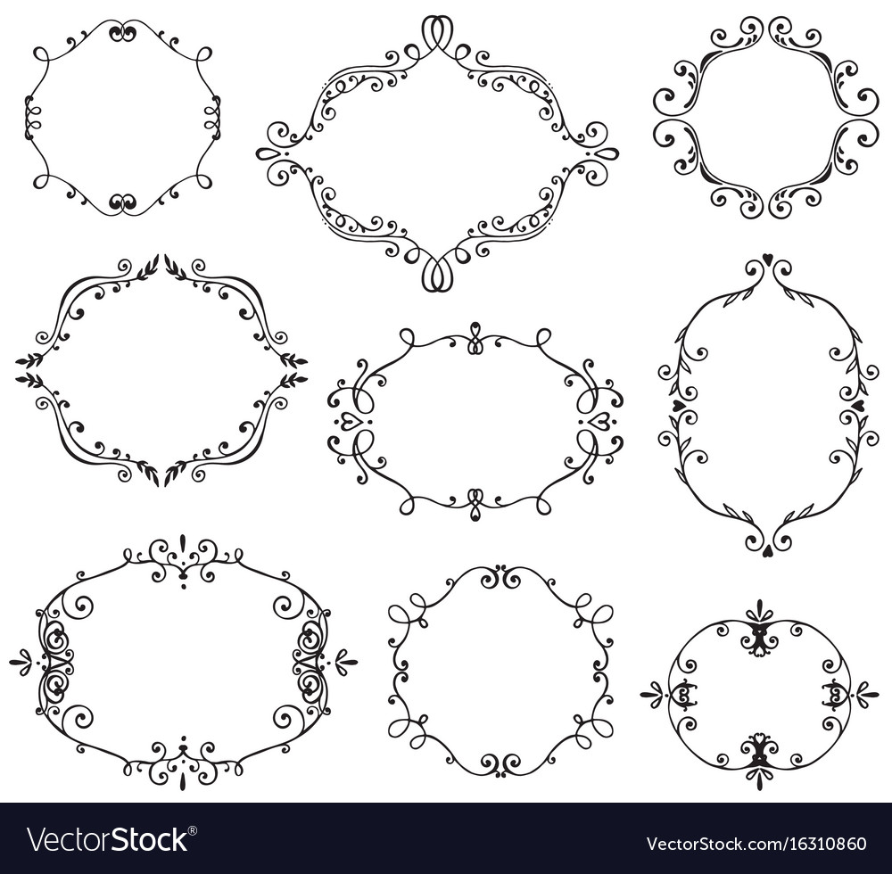 Set of hand drawn frames with vignette branches