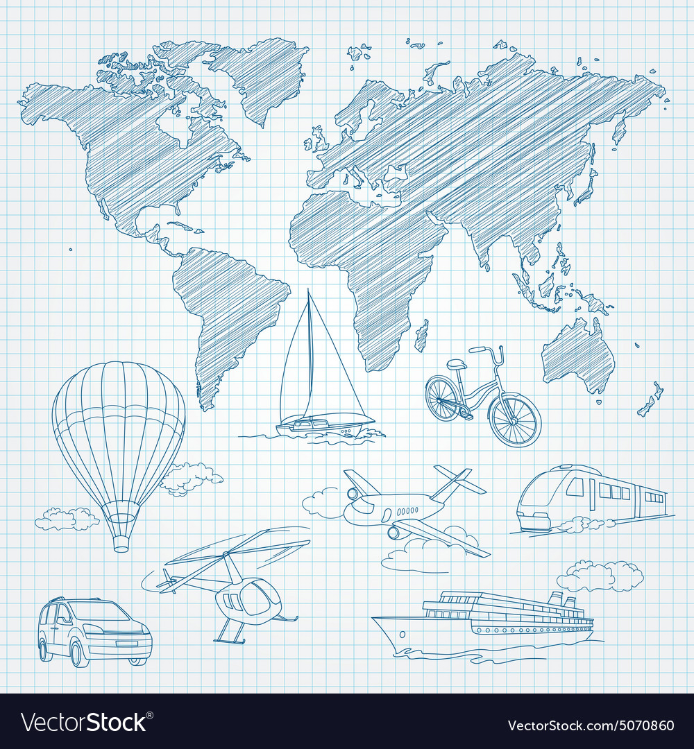 Travel transport and world map line sketch on page travel transport and world map line sketch on page vector image gumiabroncs Images