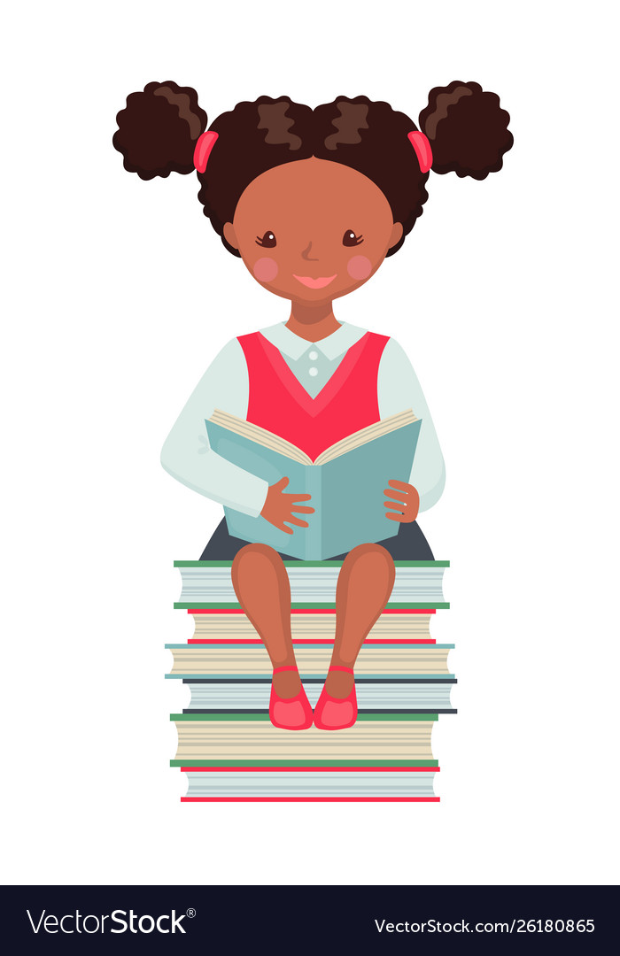 African american school girl character with book