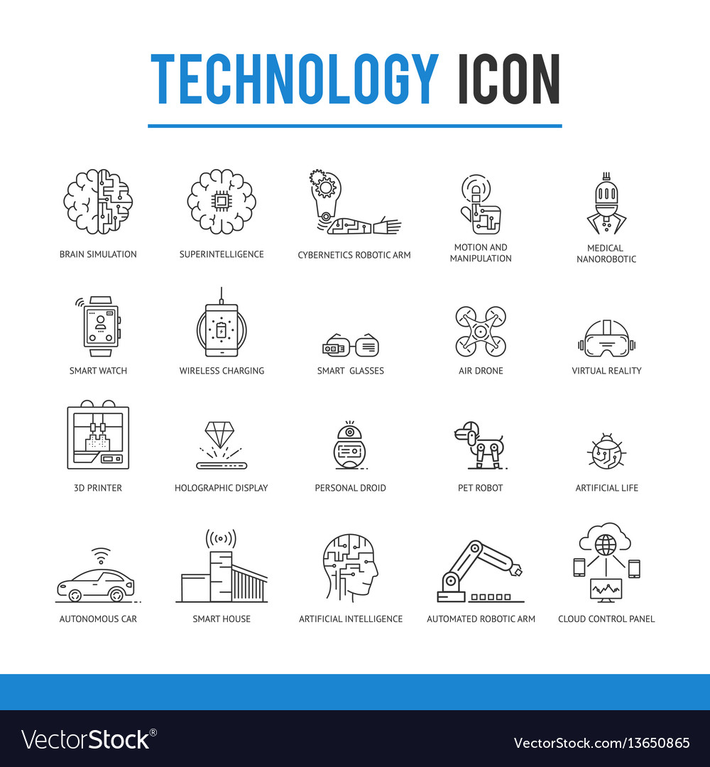 Artificial intelligence technology icon pack