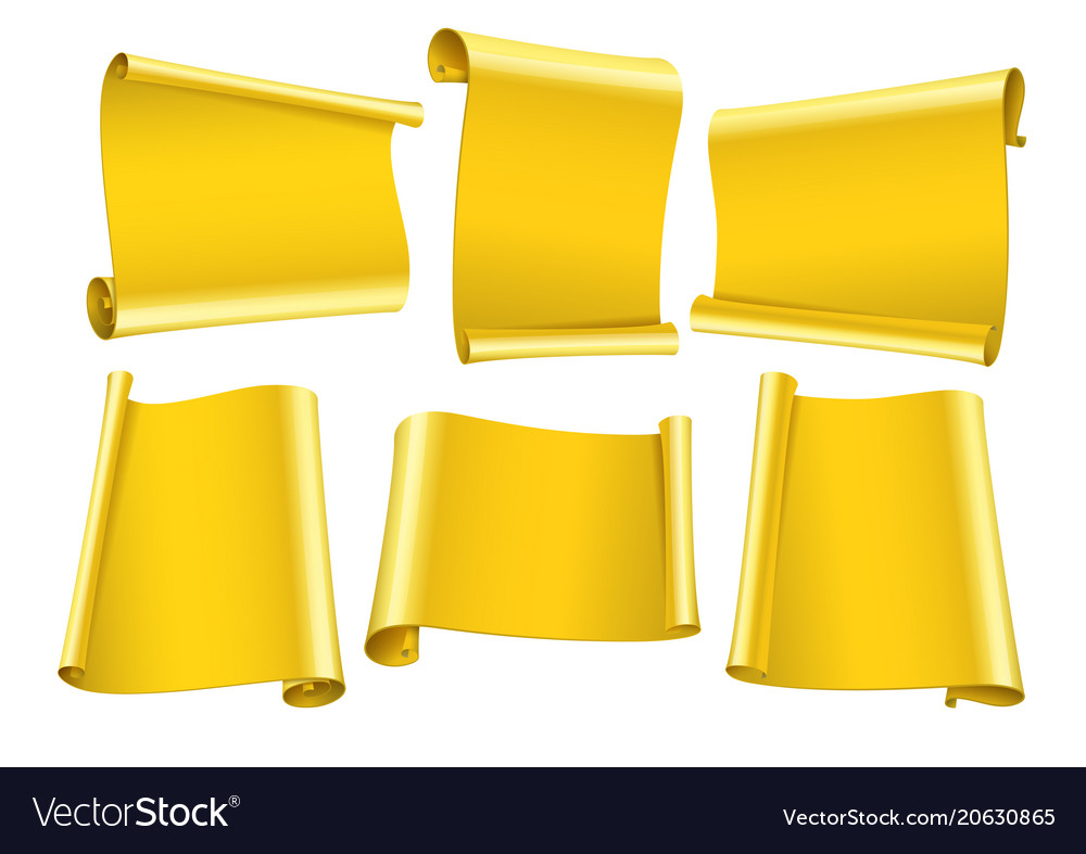 Blank scrolls of gold paper stickers set vector image