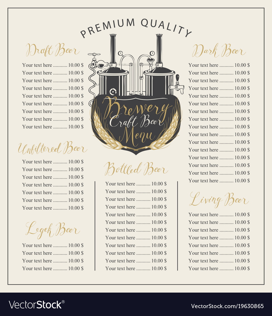 Craft beer menu with price list and brewery
