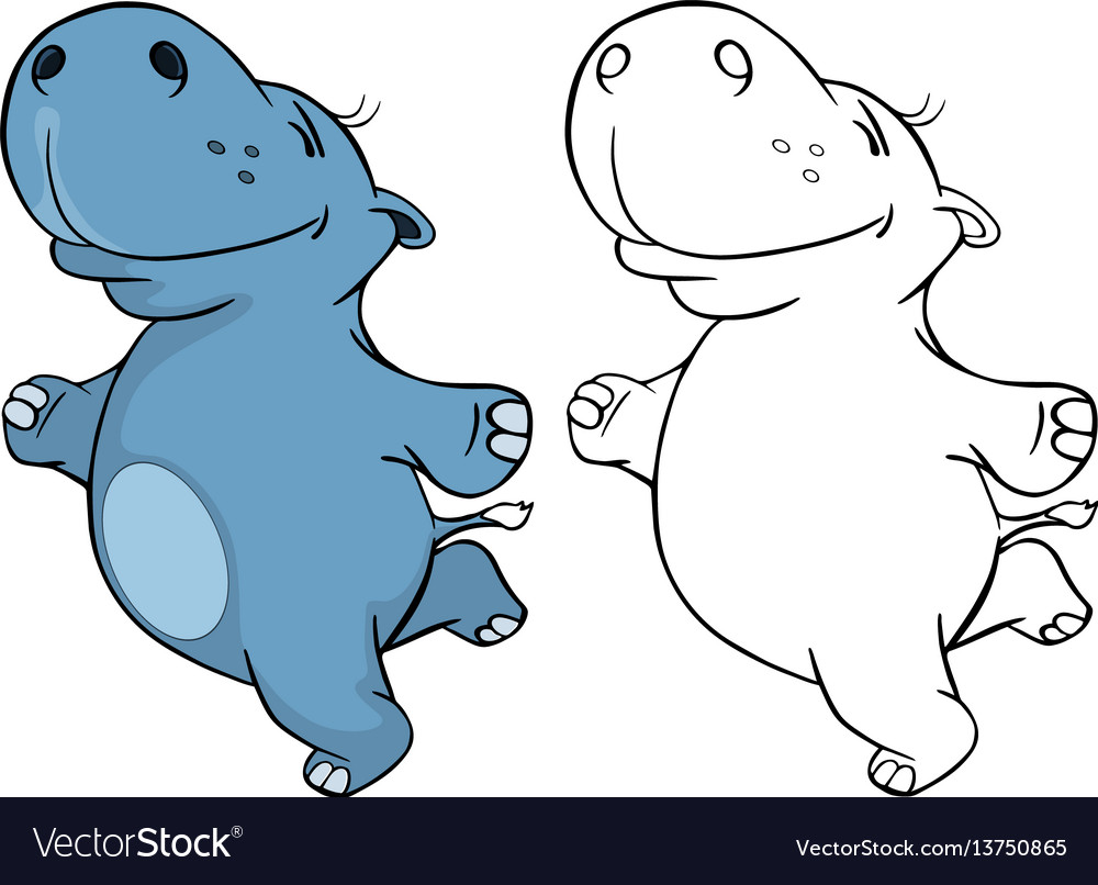 Cute little hippo cartoon character vector image