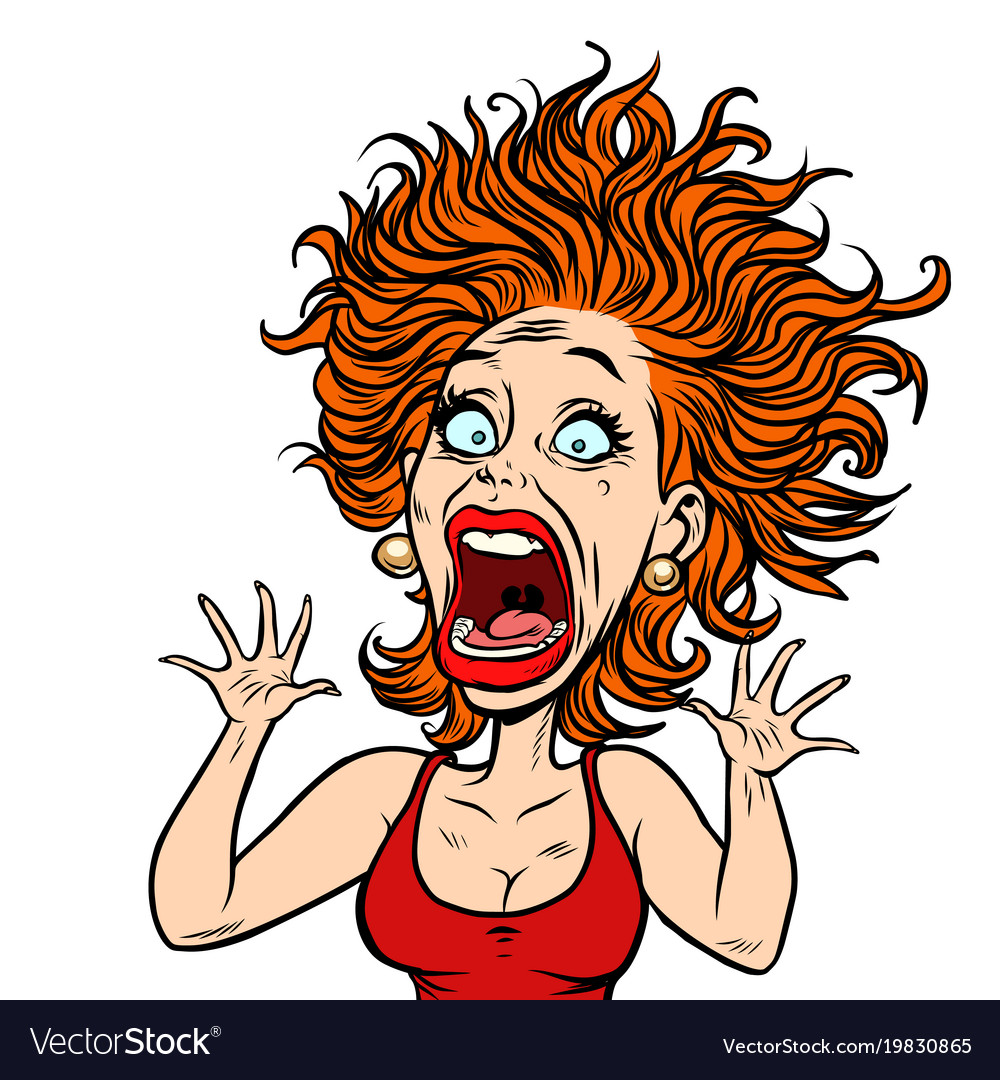 funny scared woman royalty free vector image vectorstock