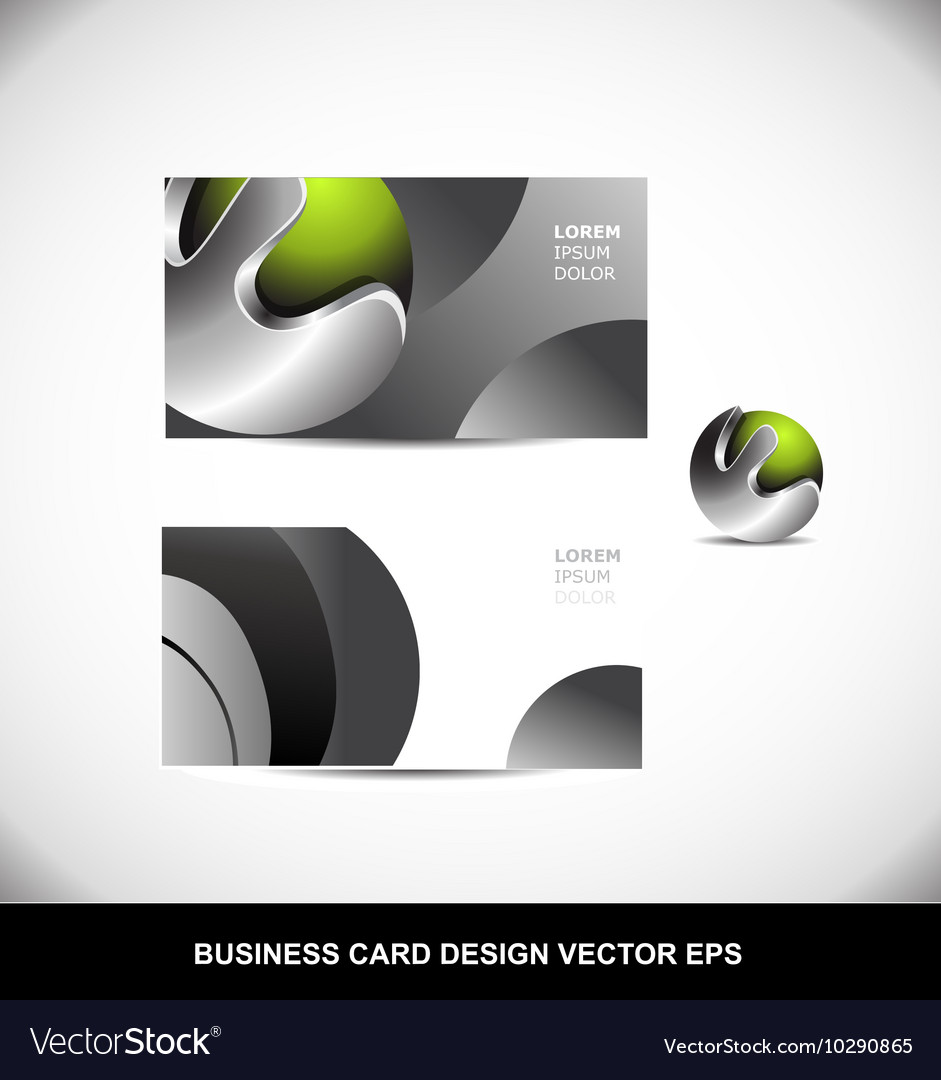 Green metal sphere business card design template vector image reheart Image collections
