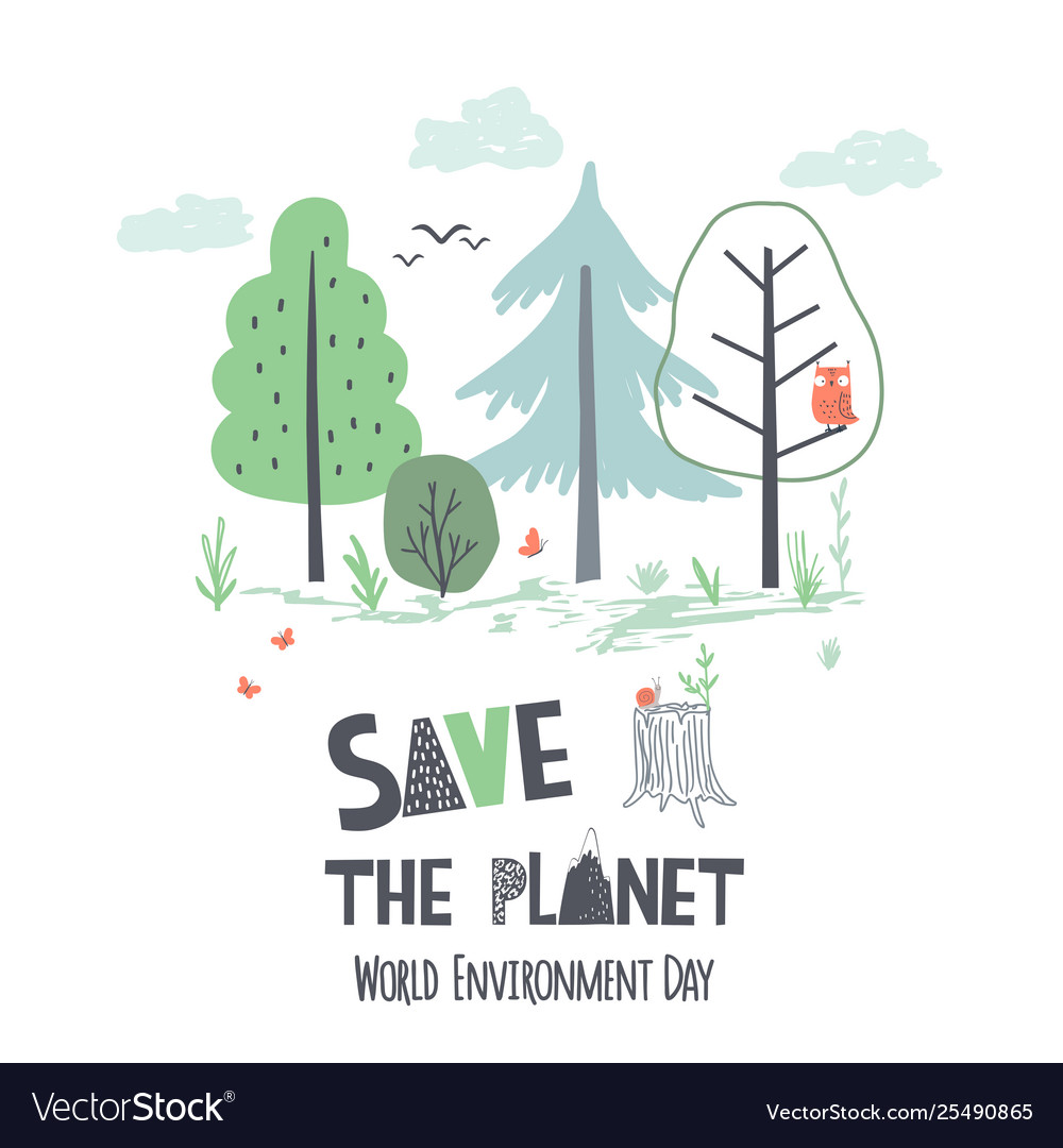Hand draw earth day