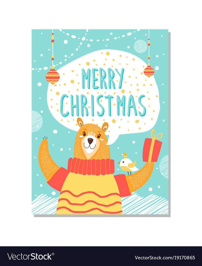 Merry christmas bear on poster