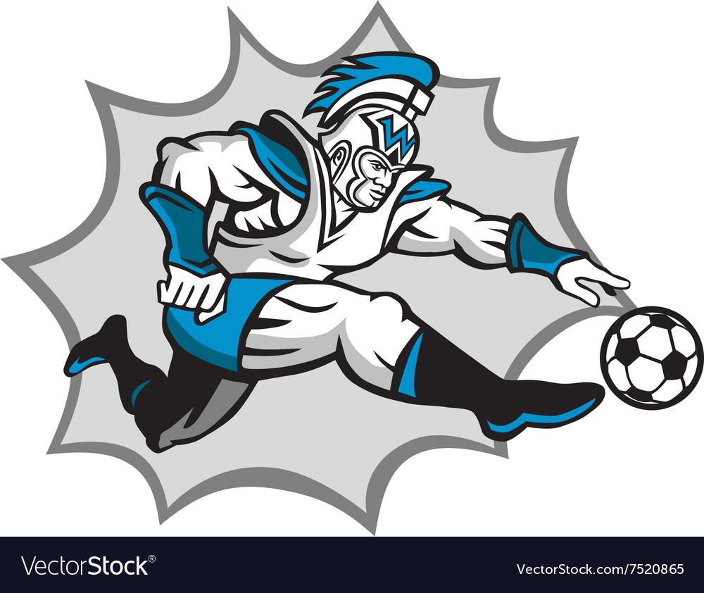 Roman Warrior Soccer Player Ball Retro vector image
