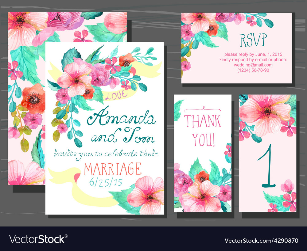 Beautiful set of invitation cards with watercolor