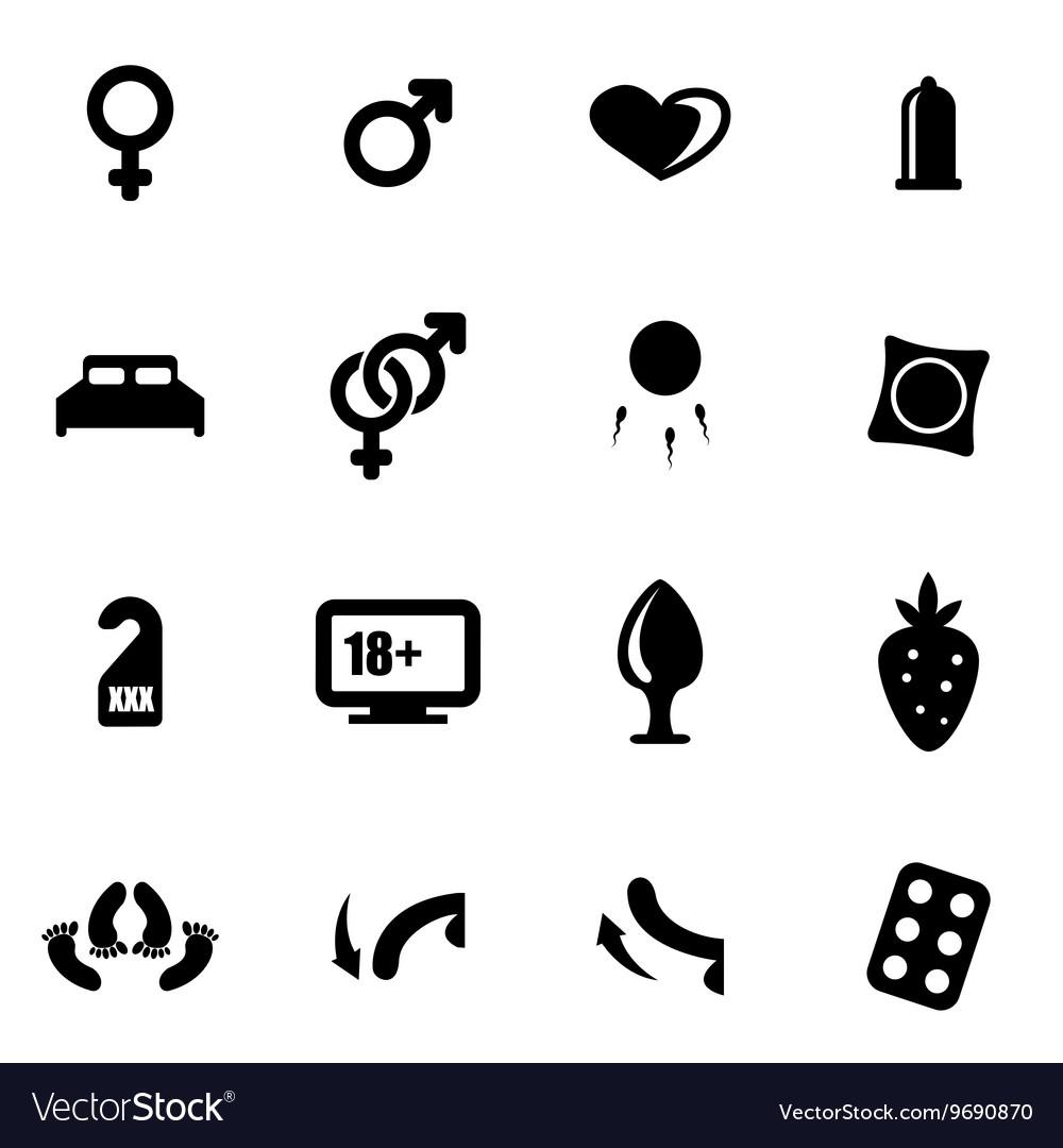 Black sex icon set