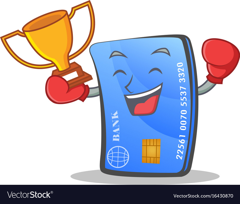 boxing credit card character cartoon with winner vector image