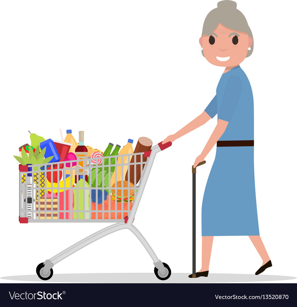 Cartoon old woman with shopping trolley