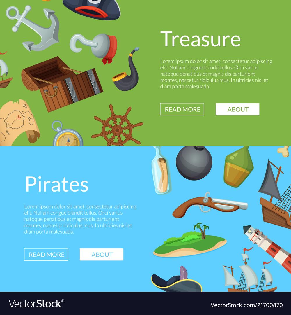Cartoon sea pirates banner templates