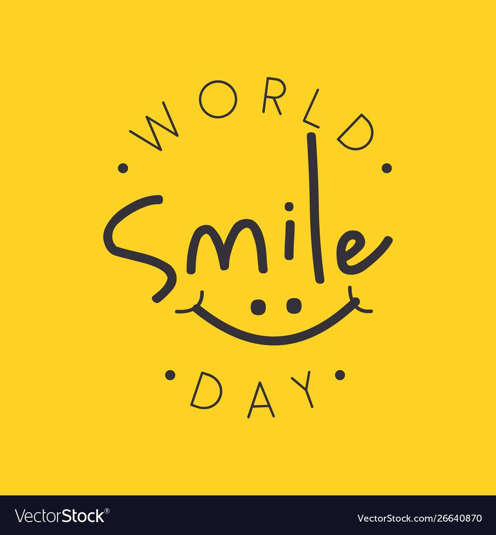 Funny emblem design world smile day