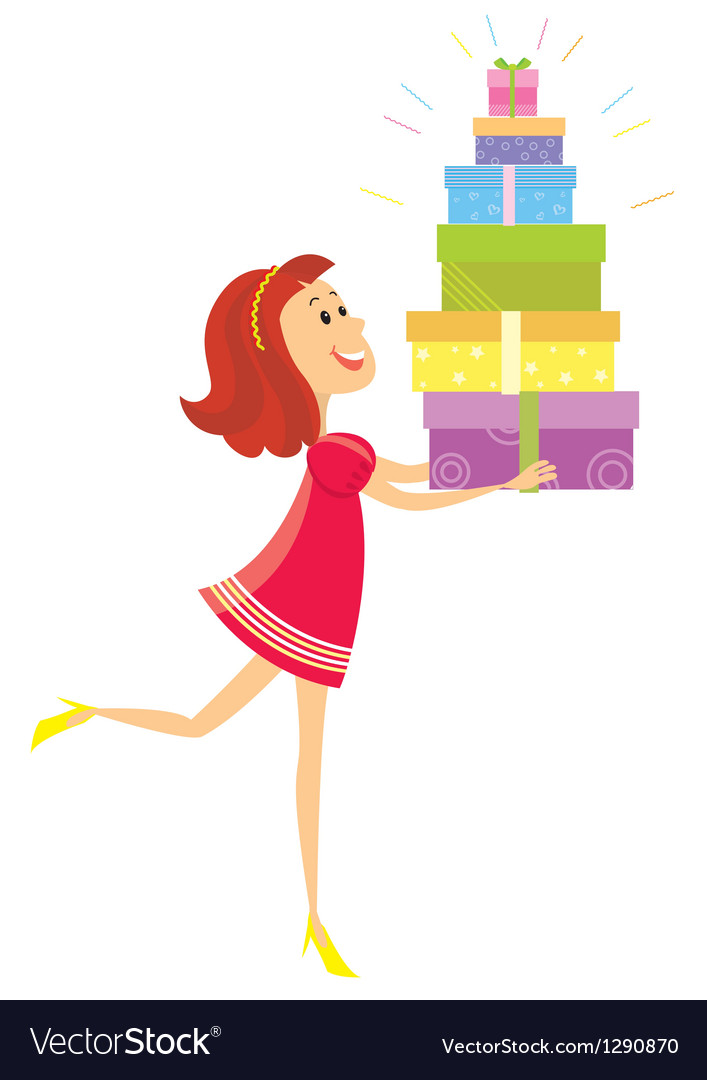 Girl and presents vector image