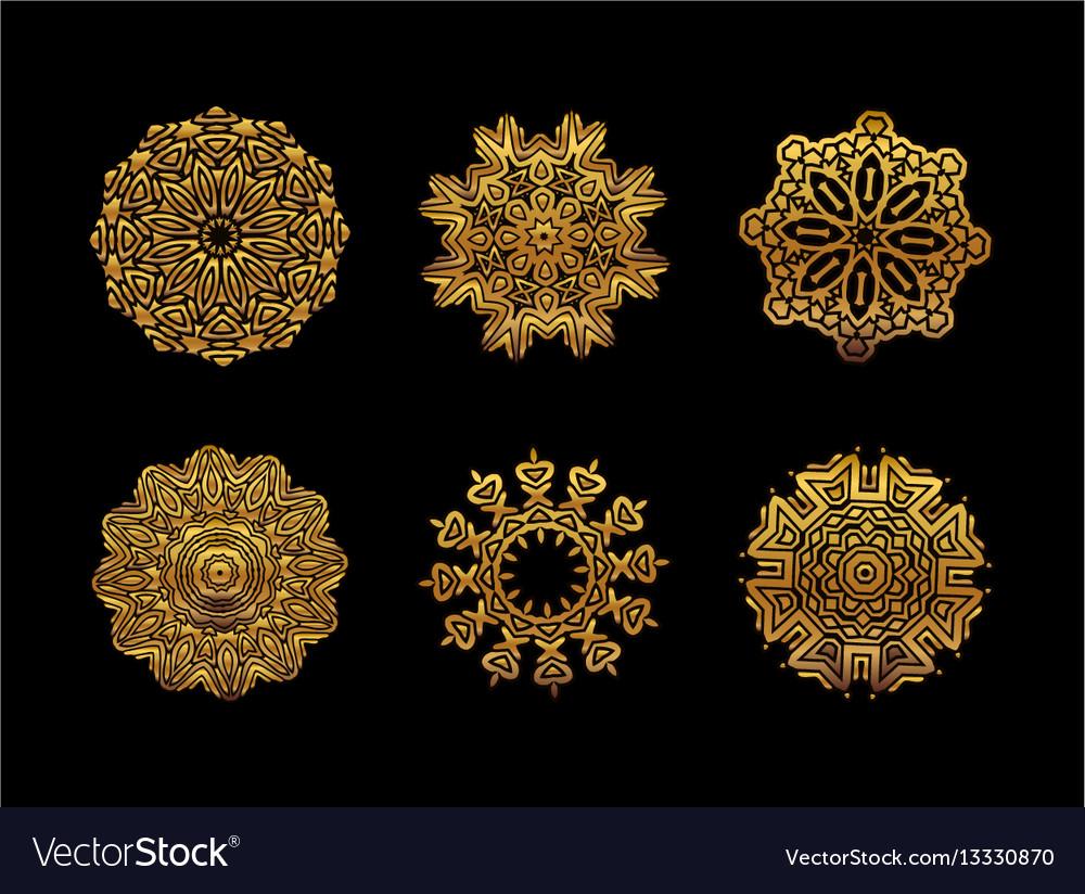 Gold mandala on black background