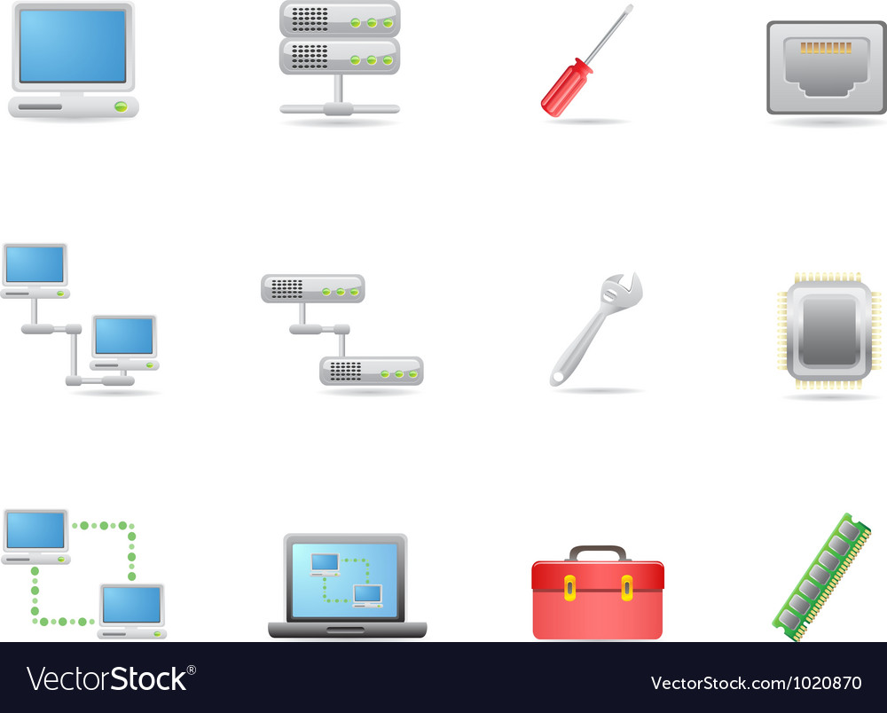 Hardware and connections icon vector image