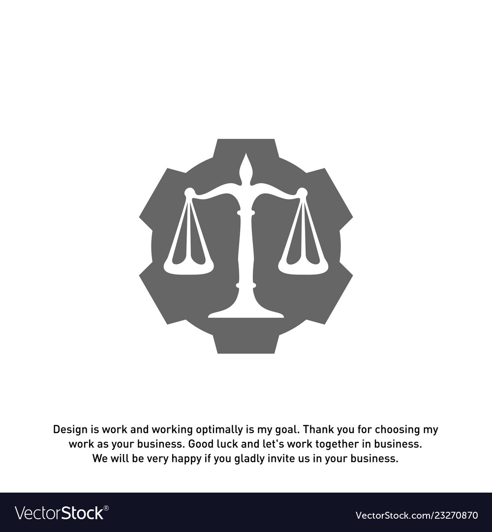 Law firm with gear logo design template law firm