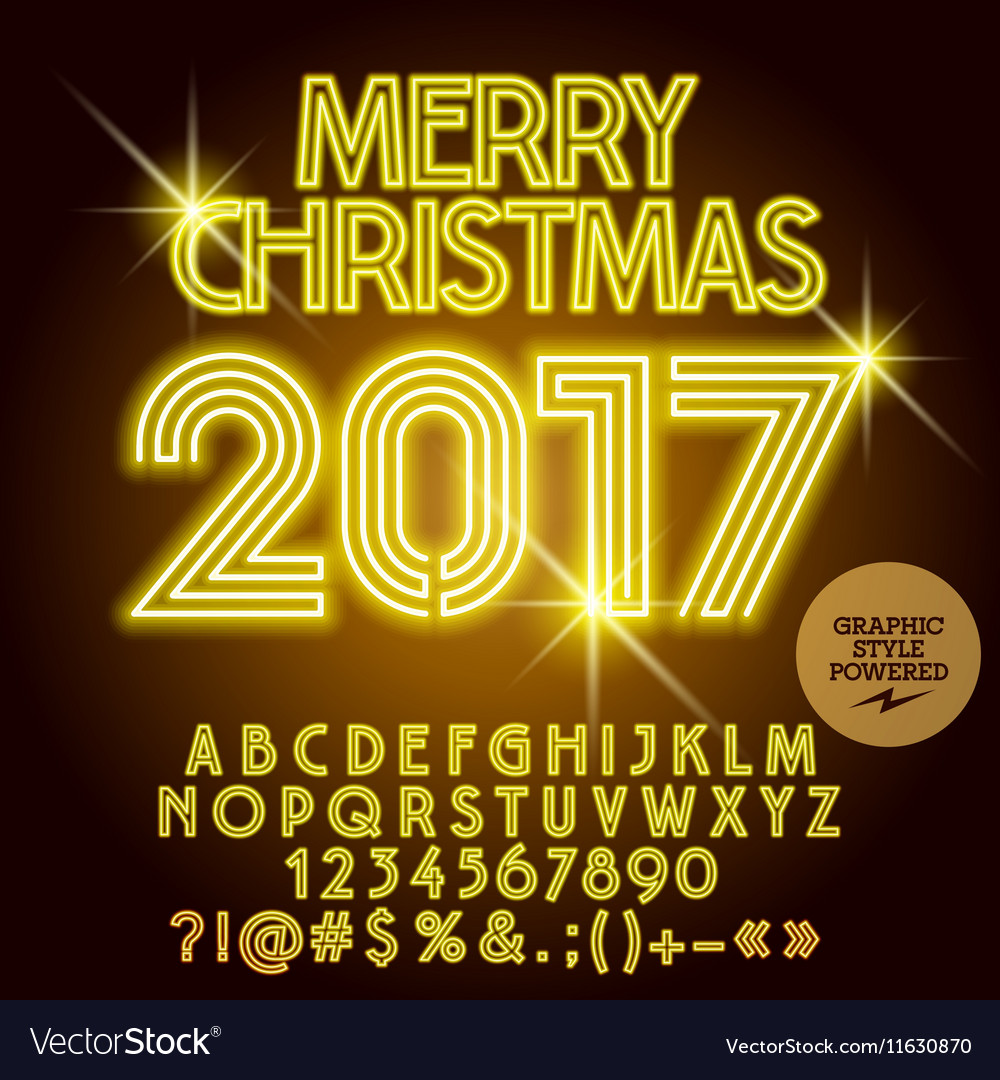 Light up yellow merry christmas 2017 greeting card light up yellow merry christmas 2017 greeting card vector image m4hsunfo