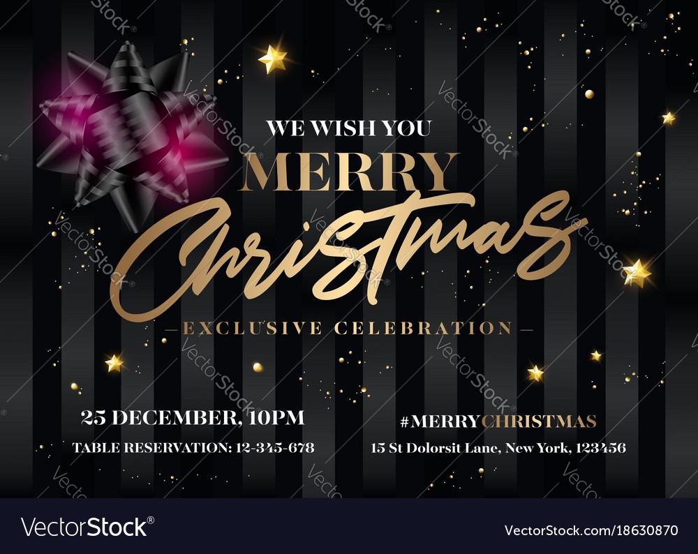 Merry christmas invitation design horizontal vector image