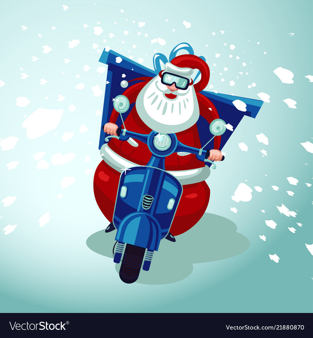 Santa claus riding on a vintage moto bike