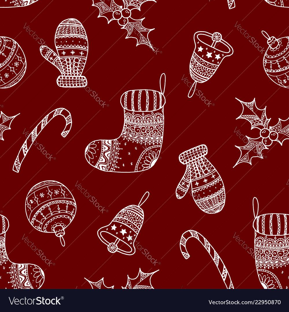 Seamless pattern of white christmas symbols