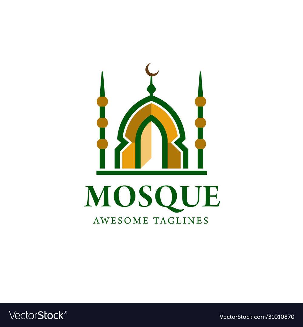Simple minimalist mosque building logo