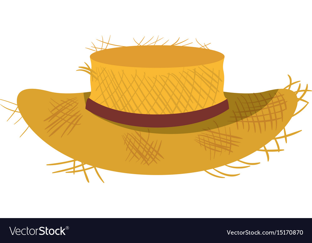 White background with straw hat with ribbon Vector Image f2a5872bdc43