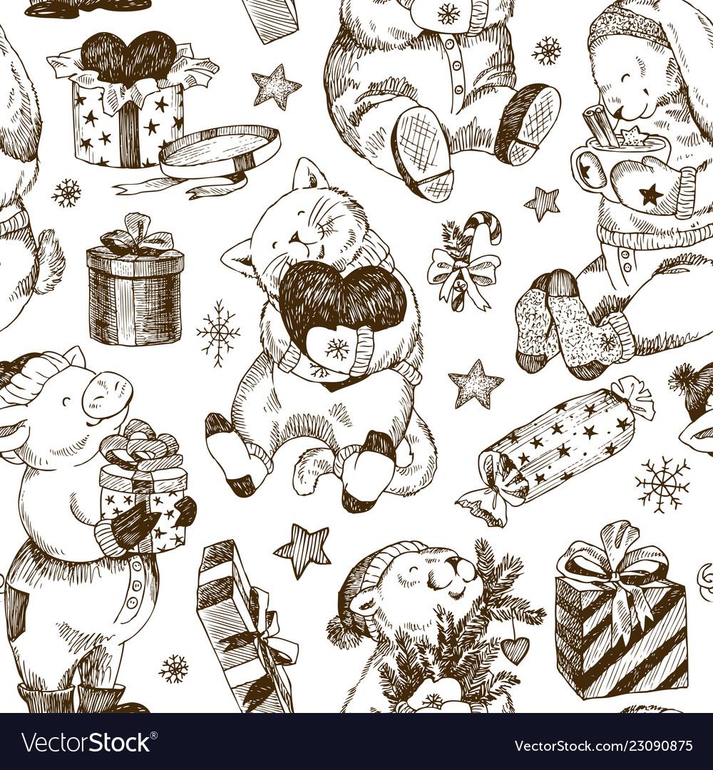 Christmas seamless pattern bear rabbit kitten