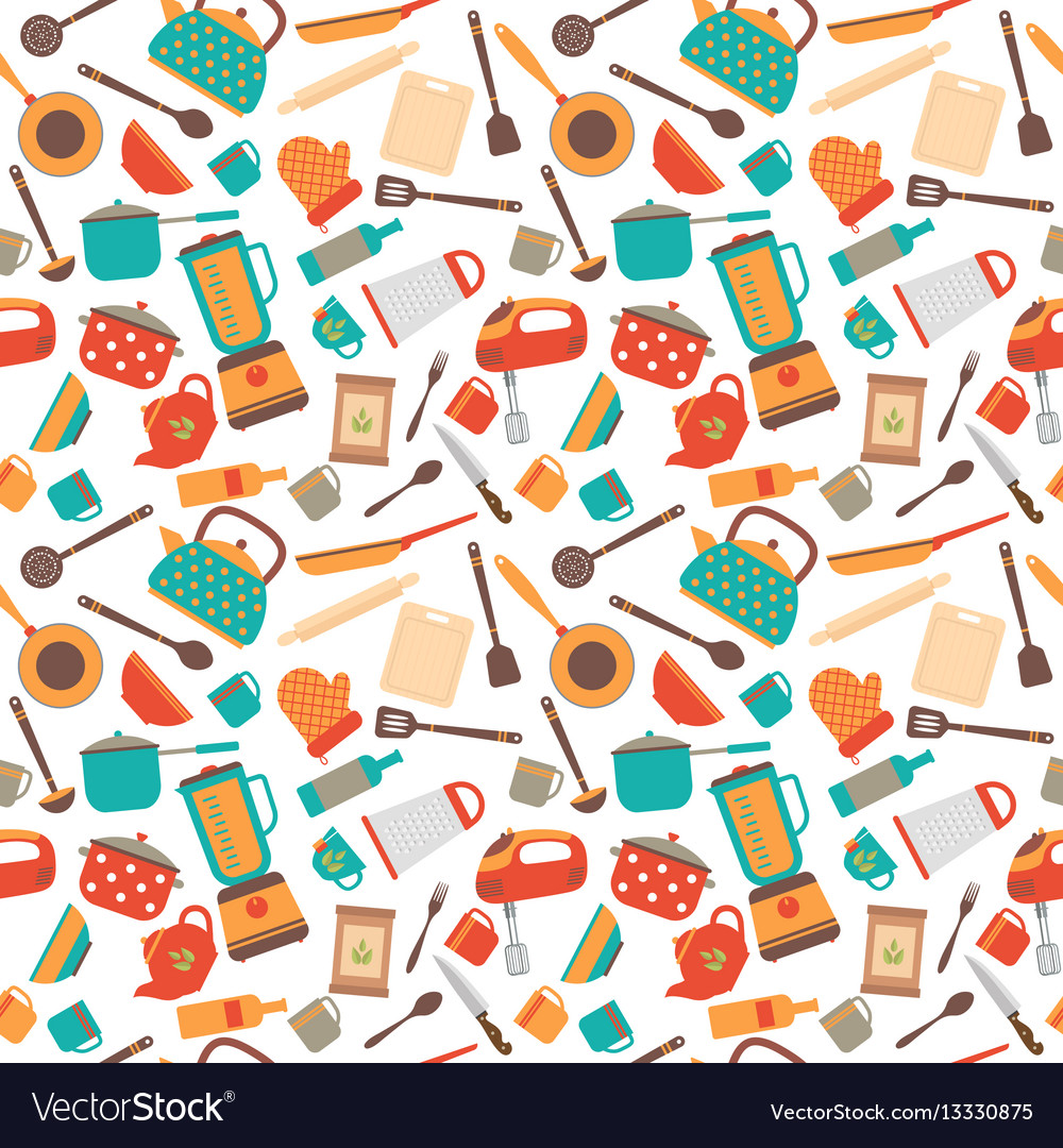Cooking utensils background cute seamless pattern