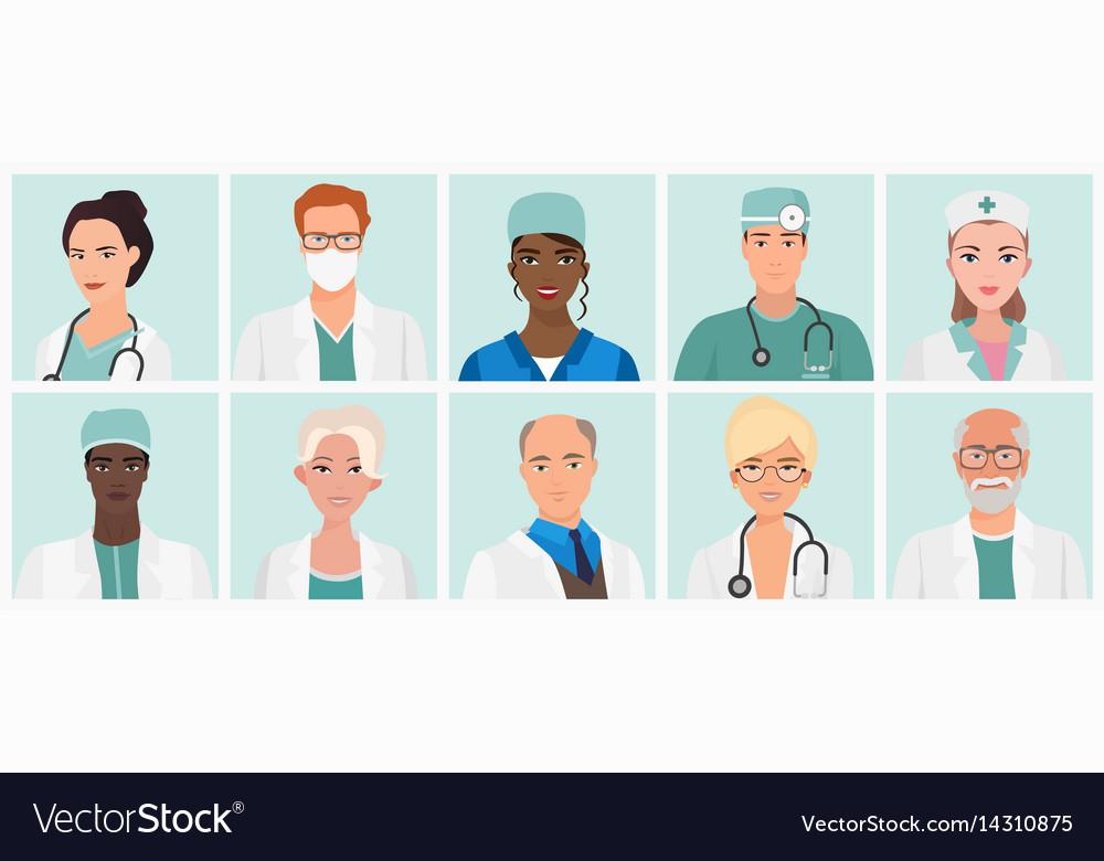 Doctors and nurses avatars set medical staff